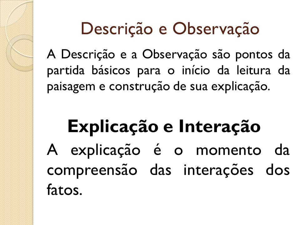 Descrição e Observação A Descrição e a Observação são pontos da partida básicos para o início da leitura da paisagem e construção de sua explicação. E