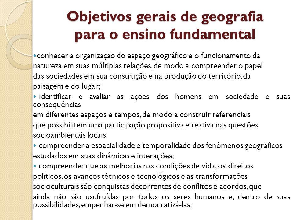 Objetivos gerais de geografia para o ensino fundamental conhecer a organização do espaço geográfico e o funcionamento da natureza em suas múltiplas re