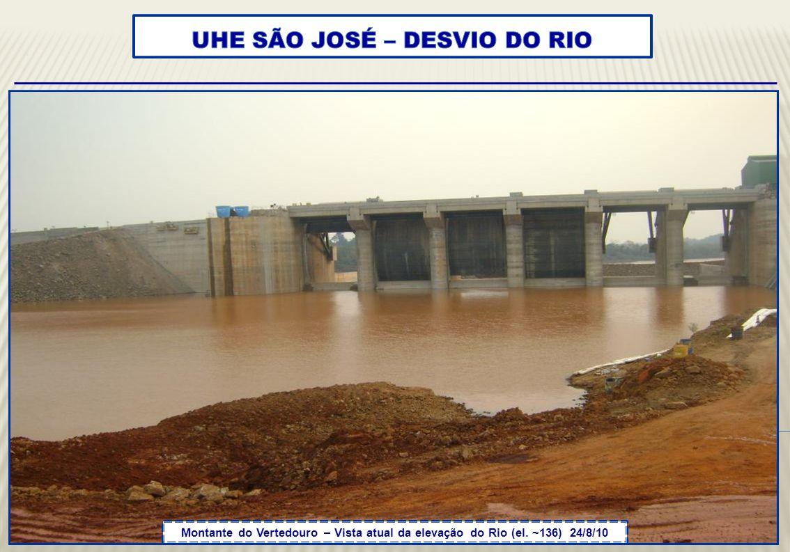 Montante do Vertedouro – Vista atual da elevação do Rio (el. ~136) 24/8/10