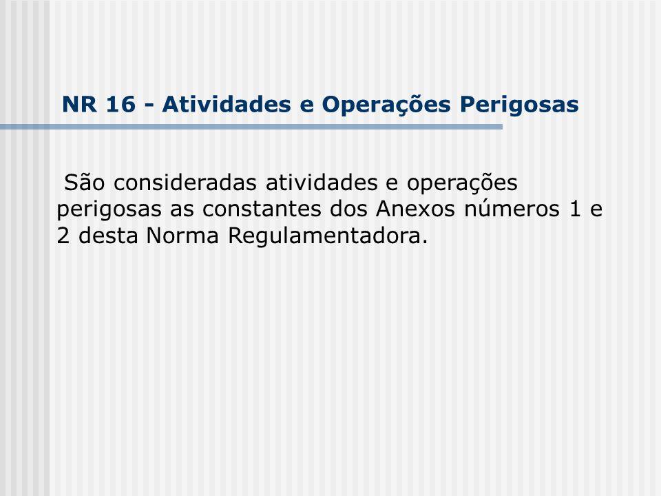 São consideradas atividades e operações perigosas as constantes dos Anexos números 1 e 2 desta Norma Regulamentadora. NR 16 - Atividades e Operações P