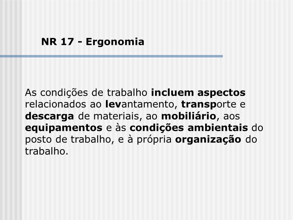 NR 17 - Ergonomia As condições de trabalho incluem aspectos relacionados ao levantamento, transporte e descarga de materiais, ao mobiliário, aos equip