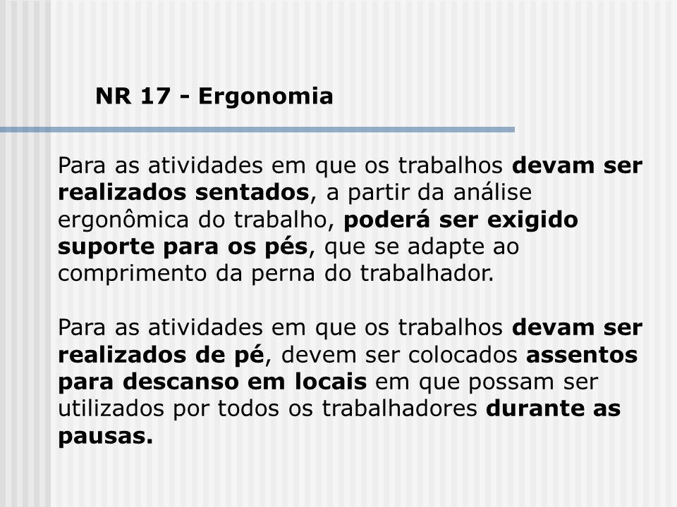 NR 17 - Ergonomia Para as atividades em que os trabalhos devam ser realizados sentados, a partir da análise ergonômica do trabalho, poderá ser exigido