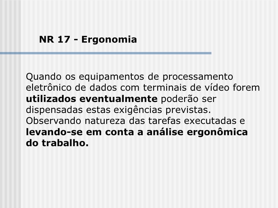 NR 17 - Ergonomia Quando os equipamentos de processamento eletrônico de dados com terminais de vídeo forem utilizados eventualmente poderão ser dispen