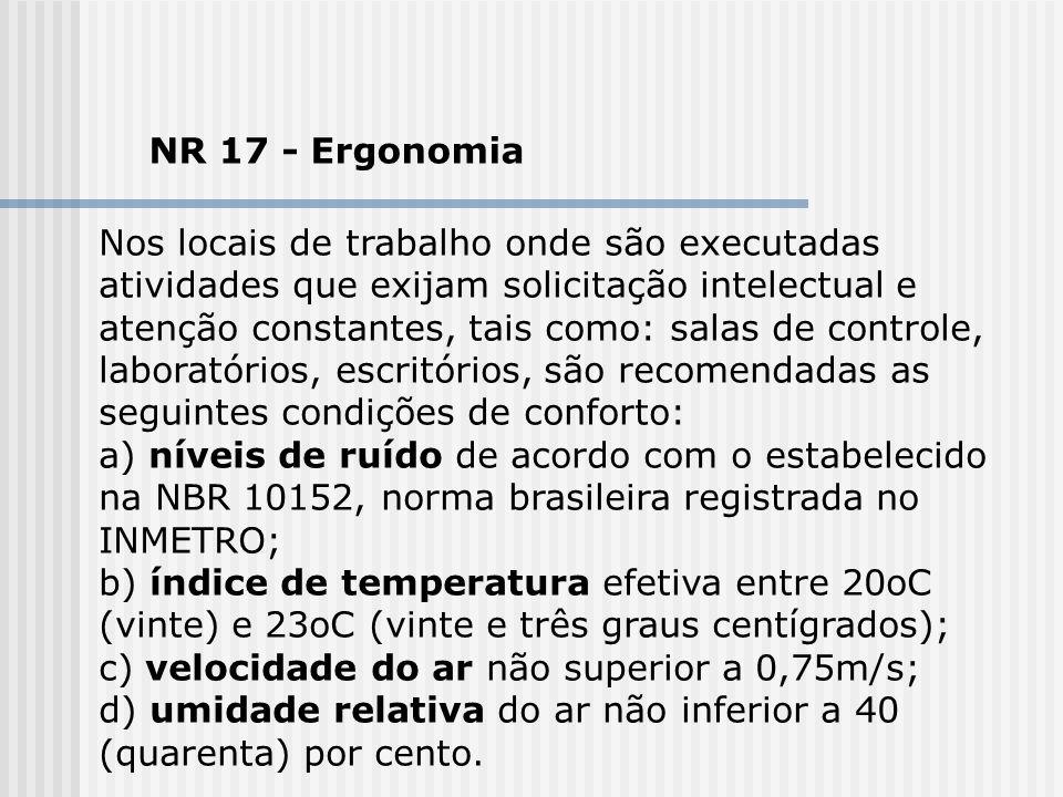 NR 17 - Ergonomia Nos locais de trabalho onde são executadas atividades que exijam solicitação intelectual e atenção constantes, tais como: salas de c