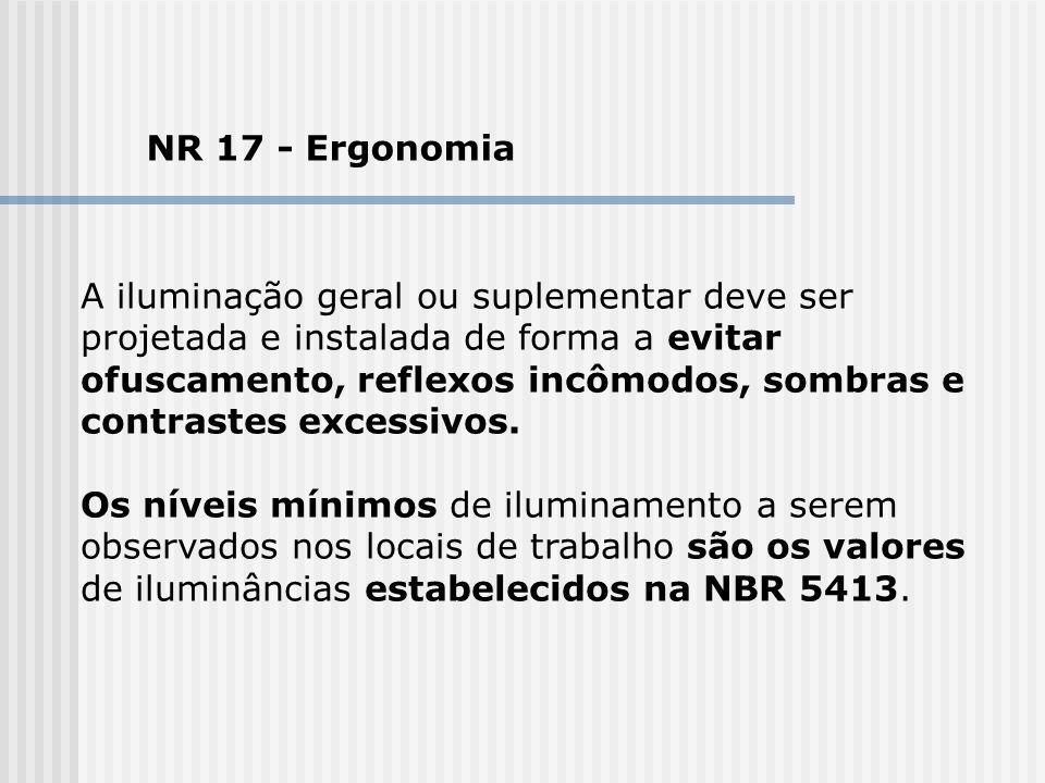 NR 17 - Ergonomia A iluminação geral ou suplementar deve ser projetada e instalada de forma a evitar ofuscamento, reflexos incômodos, sombras e contra
