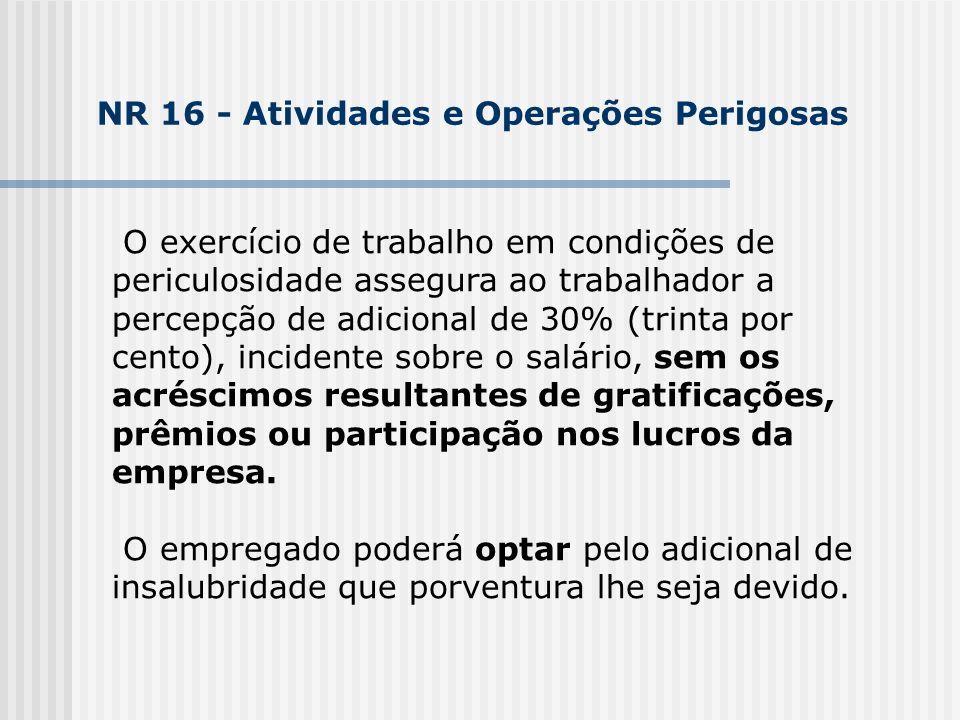 O exercício de trabalho em condições de periculosidade assegura ao trabalhador a percepção de adicional de 30% (trinta por cento), incidente sobre o s