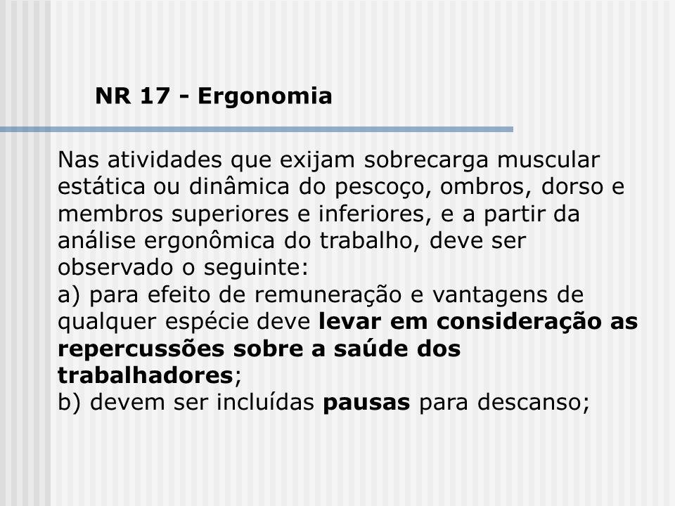 NR 17 - Ergonomia Nas atividades que exijam sobrecarga muscular estática ou dinâmica do pescoço, ombros, dorso e membros superiores e inferiores, e a