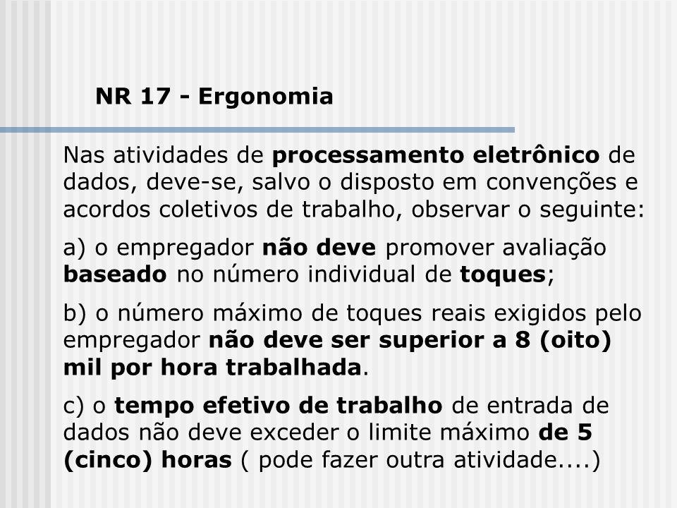 NR 17 - Ergonomia Nas atividades de processamento eletrônico de dados, deve-se, salvo o disposto em convenções e acordos coletivos de trabalho, observ