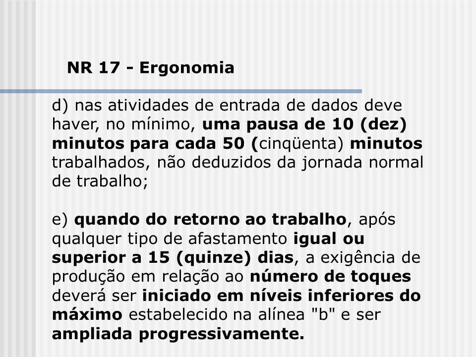 NR 17 - Ergonomia d) nas atividades de entrada de dados deve haver, no mínimo, uma pausa de 10 (dez) minutos para cada 50 (cinqüenta) minutos trabalha