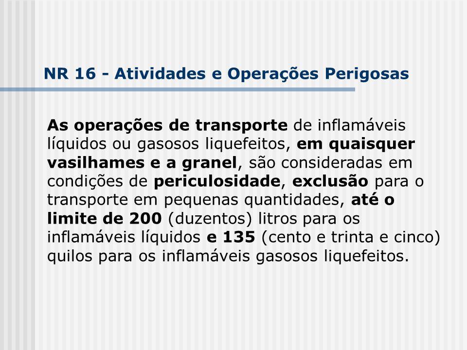 As operações de transporte de inflamáveis líquidos ou gasosos liquefeitos, em quaisquer vasilhames e a granel, são consideradas em condições de pericu