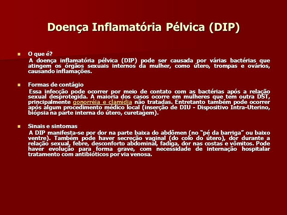 Doença Inflamatória Pélvica (DIP) O que é? O que é? A doença inflamatória pélvica (DIP) pode ser causada por várias bactérias que atingem os órgãos se