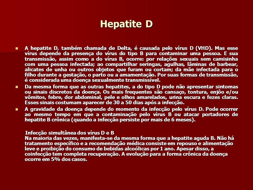 Hepatite D A hepatite D, também chamada de Delta, é causada pelo vírus D (VHD). Mas esse vírus depende da presença do vírus do tipo B para contaminar