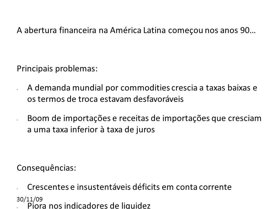 30/11/09 A abertura financeira na América Latina começou nos anos 90… Principais problemas: - A demanda mundial por commodities crescia a taxas baixas