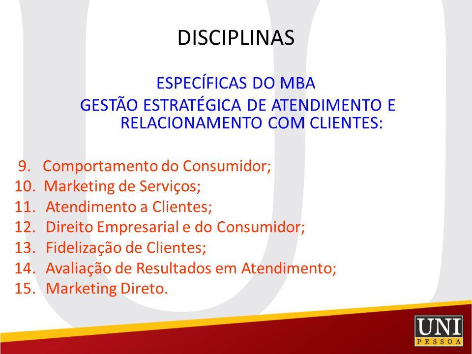 DISCIPLINAS ESPECÍFICAS DO MBA GESTÃO ESTRATÉGICA DE ATENDIMENTO E RELACIONAMENTO COM CLIENTES: 9. Comportamento do Consumidor; 10. Marketing de Servi