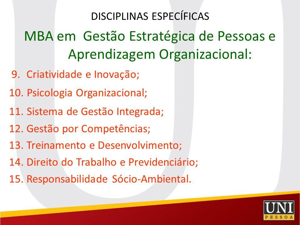 DISCIPLINAS ESPECÍFICAS MBA em Gestão Estratégica de Pessoas e Aprendizagem Organizacional: 9. Criatividade e Inovação; 10. Psicologia Organizacional;