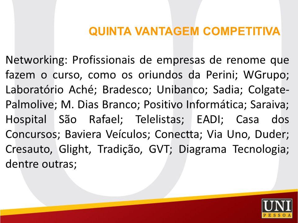 Networking: Profissionais de empresas de renome que fazem o curso, como os oriundos da Perini; WGrupo; Laboratório Aché; Bradesco; Unibanco; Sadia; Co