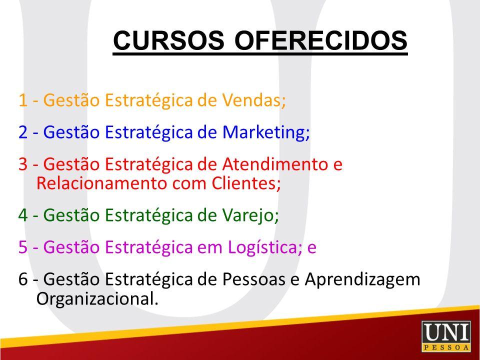 CURSOS OFERECIDOS 1 - Gestão Estratégica de Vendas; 2 - Gestão Estratégica de Marketing; 3 - Gestão Estratégica de Atendimento e Relacionamento com Cl