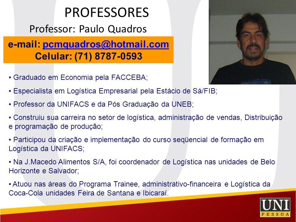 PROFESSORES Professor: Paulo Quadros e-mail: pcmquadros@hotmail.compcmquadros@hotmail.com Celular: (71) 8787-0593 Graduado em Economia pela FACCEBA; E