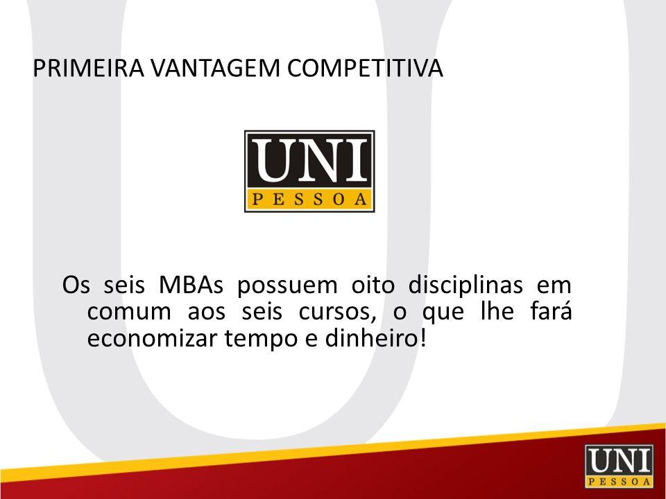 PRIMEIRA VANTAGEM COMPETITIVA Os seis MBAs possuem oito disciplinas em comum aos seis cursos, o que lhe fará economizar tempo e dinheiro!