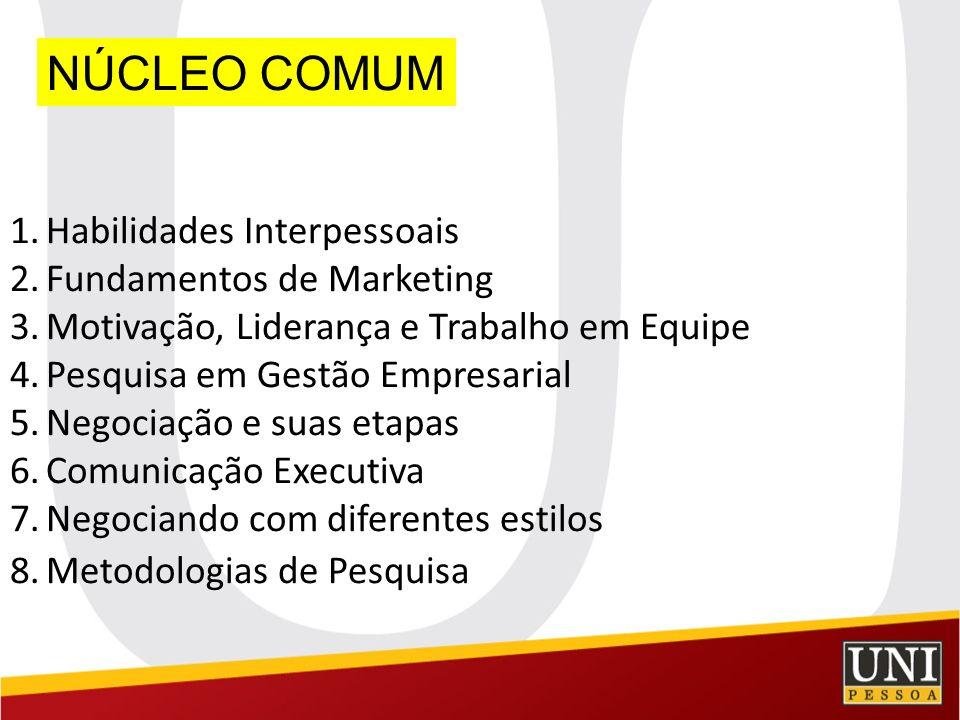 NÚCLEO COMUM 1.Habilidades Interpessoais 2.Fundamentos de Marketing 3.Motivação, Liderança e Trabalho em Equipe 4.Pesquisa em Gestão Empresarial 5.Neg
