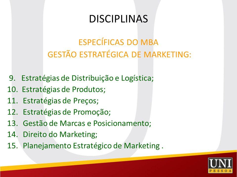 DISCIPLINAS ESPECÍFICAS DO MBA GESTÃO ESTRATÉGICA DE MARKETING: 9. Estratégias de Distribuição e Logística; 10. Estratégias de Produtos; 11.Estratégia