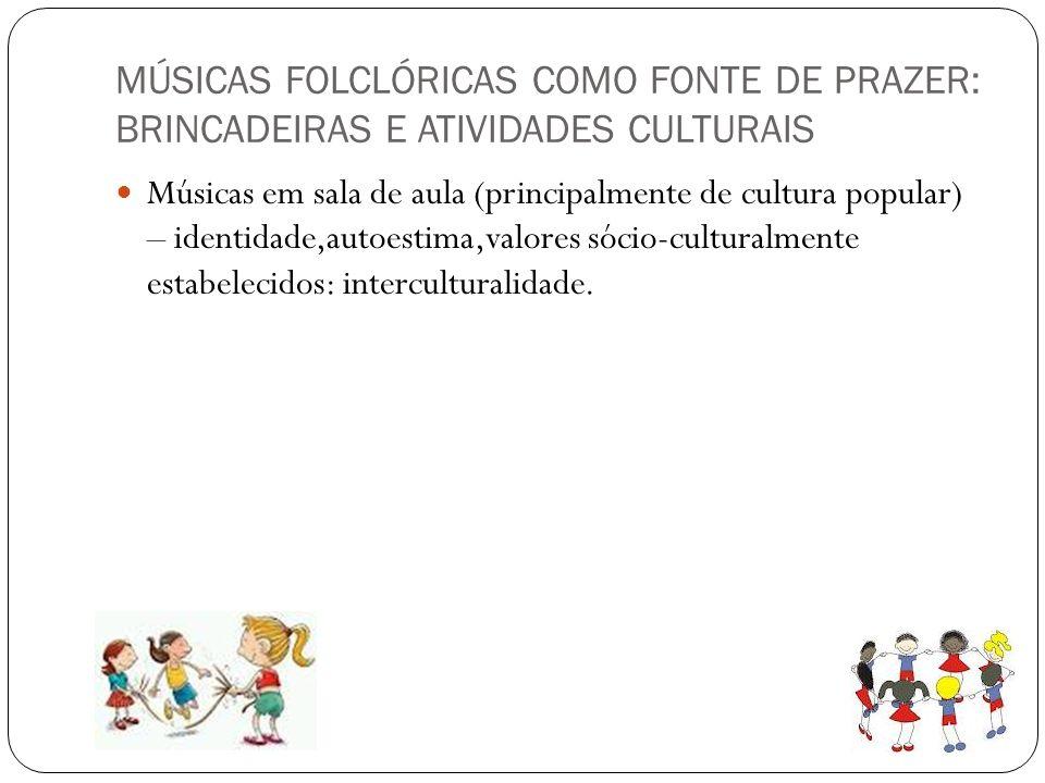 MÚSICAS FOLCLÓRICAS COMO FONTE DE PRAZER: BRINCADEIRAS E ATIVIDADES CULTURAIS Músicas em sala de aula (principalmente de cultura popular) – identidade
