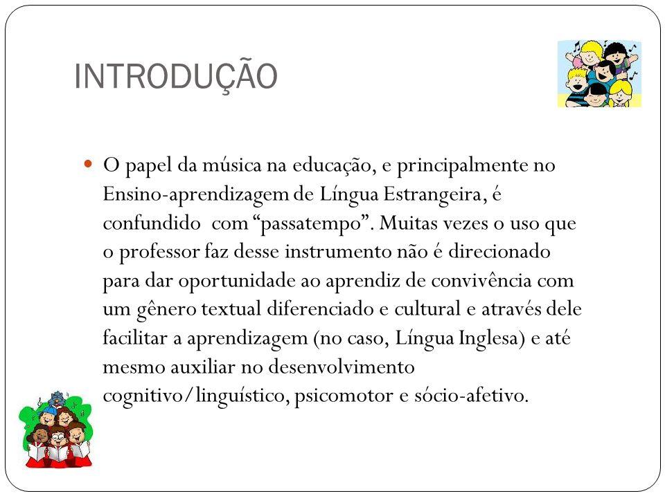 INTRODUÇÃO O papel da música na educação, e principalmente no Ensino-aprendizagem de Língua Estrangeira, é confundido com passatempo. Muitas vezes o u