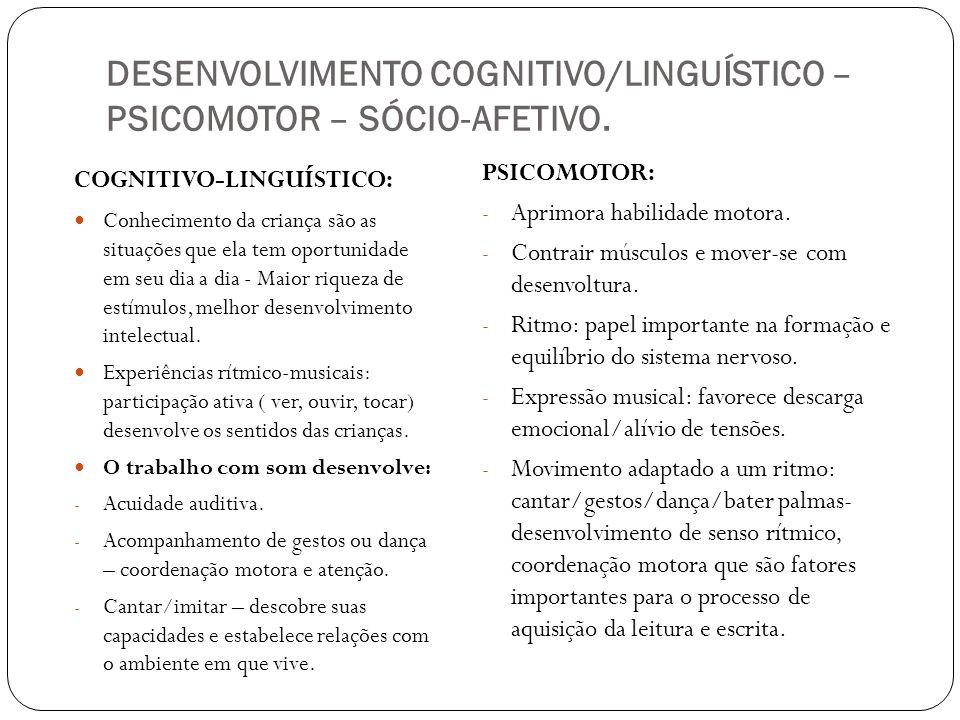 DESENVOLVIMENTO COGNITIVO/LINGUÍSTICO – PSICOMOTOR – SÓCIO-AFETIVO. COGNITIVO-LINGUÍSTICO: Conhecimento da criança são as situações que ela tem oportu