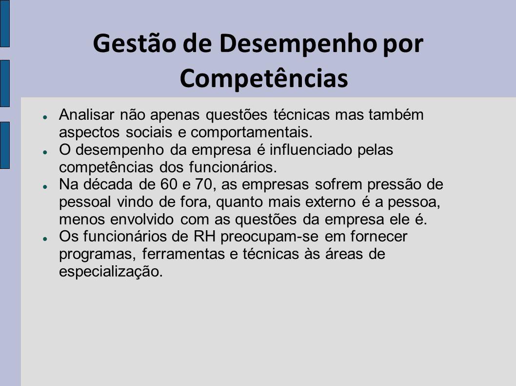Gestão de Desempenho por Competências Analisar não apenas questões técnicas mas também aspectos sociais e comportamentais. O desempenho da empresa é i