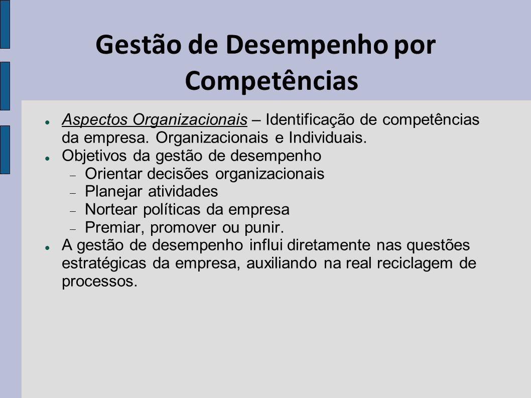Gestão de Desempenho por Competências Aspectos Organizacionais – Identificação de competências da empresa. Organizacionais e Individuais. Objetivos da