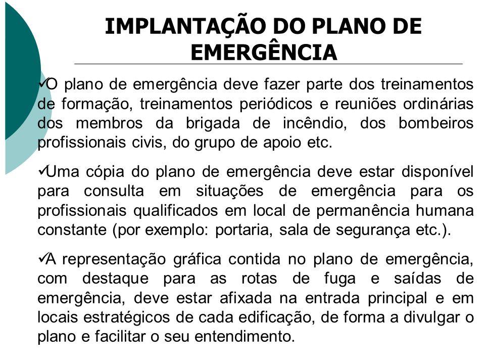 O plano de emergência deve fazer parte dos treinamentos de formação, treinamentos periódicos e reuniões ordinárias dos membros da brigada de incêndio,