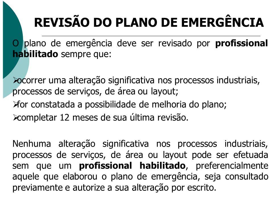 O plano de emergência deve ser revisado por profissional habilitado sempre que: ocorrer uma alteração significativa nos processos industriais, process