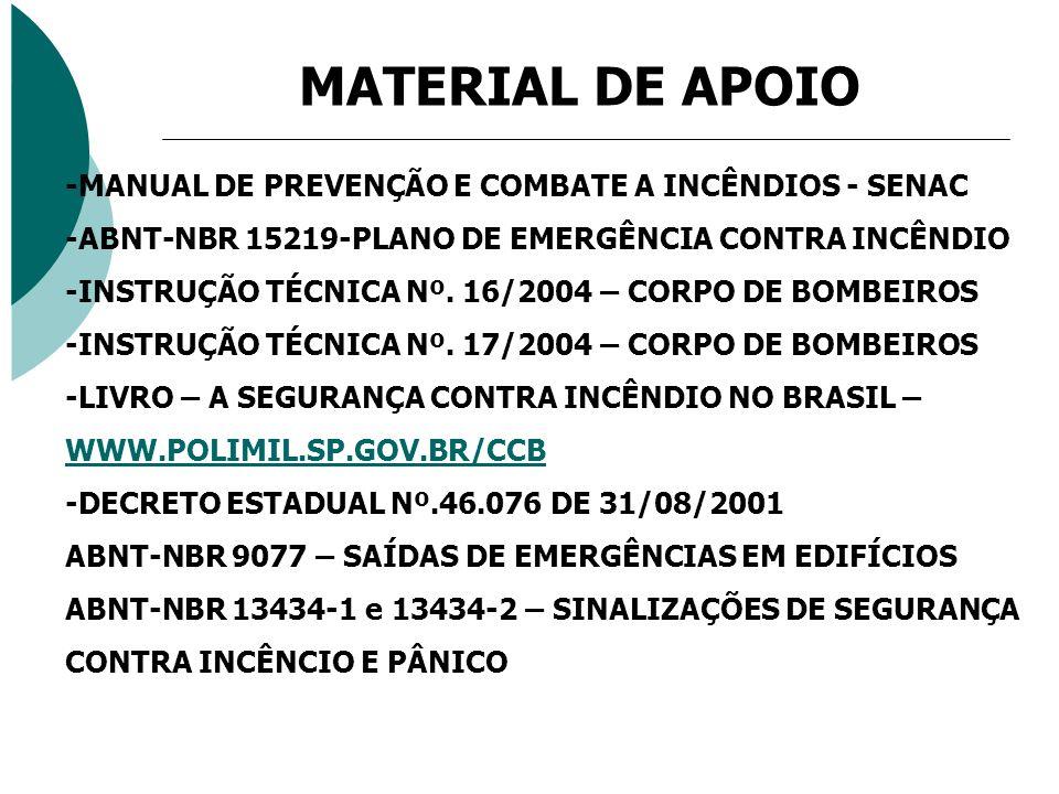 MATERIAL DE APOIO -MANUAL DE PREVENÇÃO E COMBATE A INCÊNDIOS - SENAC -ABNT-NBR 15219-PLANO DE EMERGÊNCIA CONTRA INCÊNDIO -INSTRUÇÃO TÉCNICA Nº. 16/200