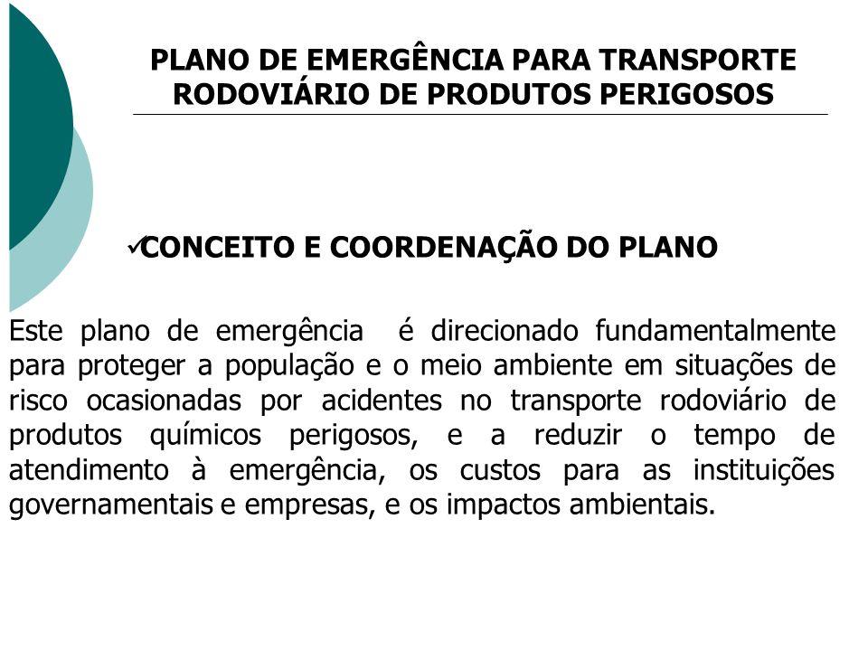 CONCEITO E COORDENAÇÃO DO PLANO Este plano de emergência é direcionado fundamentalmente para proteger a população e o meio ambiente em situações de ri