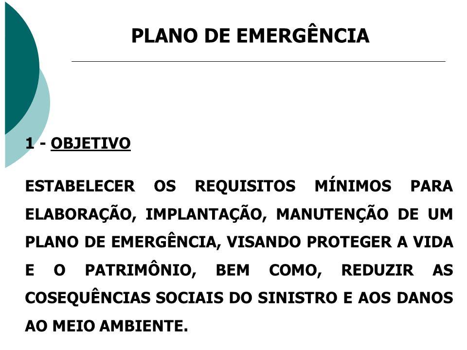 PLANO DE EMERGÊNCIA 1 - OBJETIVO ESTABELECER OS REQUISITOS MÍNIMOS PARA ELABORAÇÃO, IMPLANTAÇÃO, MANUTENÇÃO DE UM PLANO DE EMERGÊNCIA, VISANDO PROTEGE