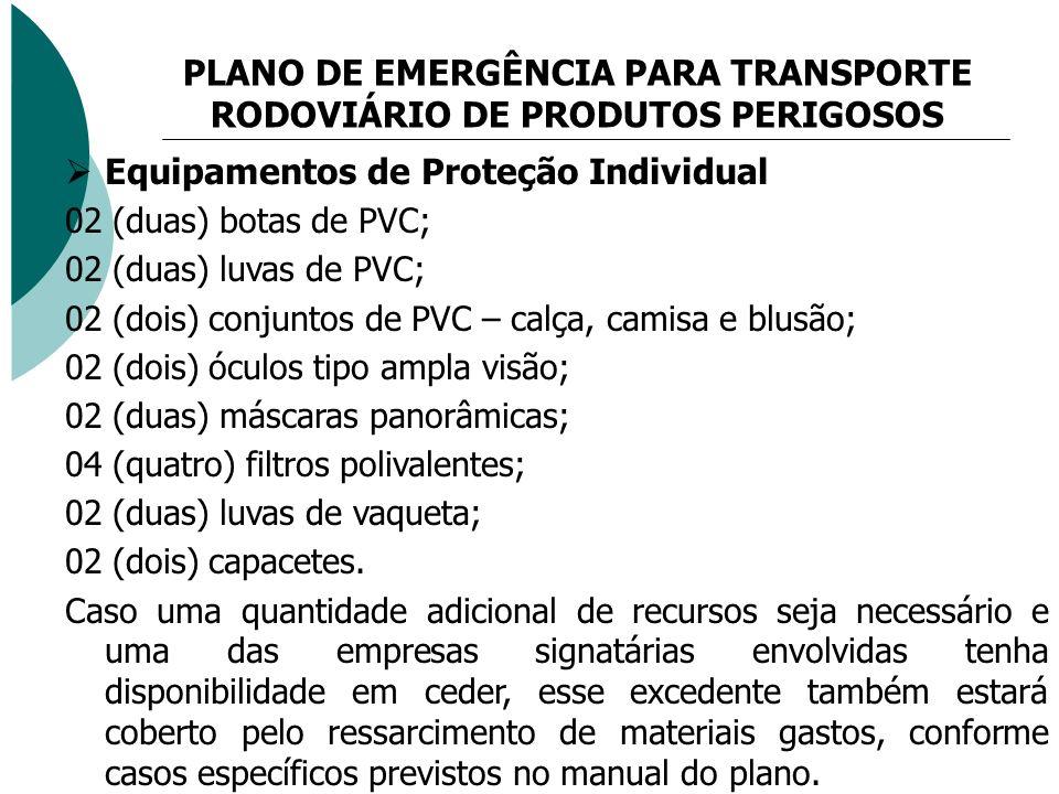 PLANO DE EMERGÊNCIA PARA TRANSPORTE RODOVIÁRIO DE PRODUTOS PERIGOSOS Equipamentos de Proteção Individual 02 (duas) botas de PVC; 02 (duas) luvas de PV