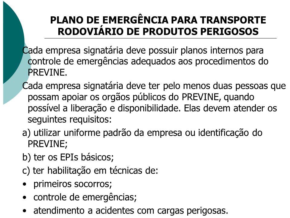 PLANO DE EMERGÊNCIA PARA TRANSPORTE RODOVIÁRIO DE PRODUTOS PERIGOSOS Cada empresa signatária deve possuir planos internos para controle de emergências