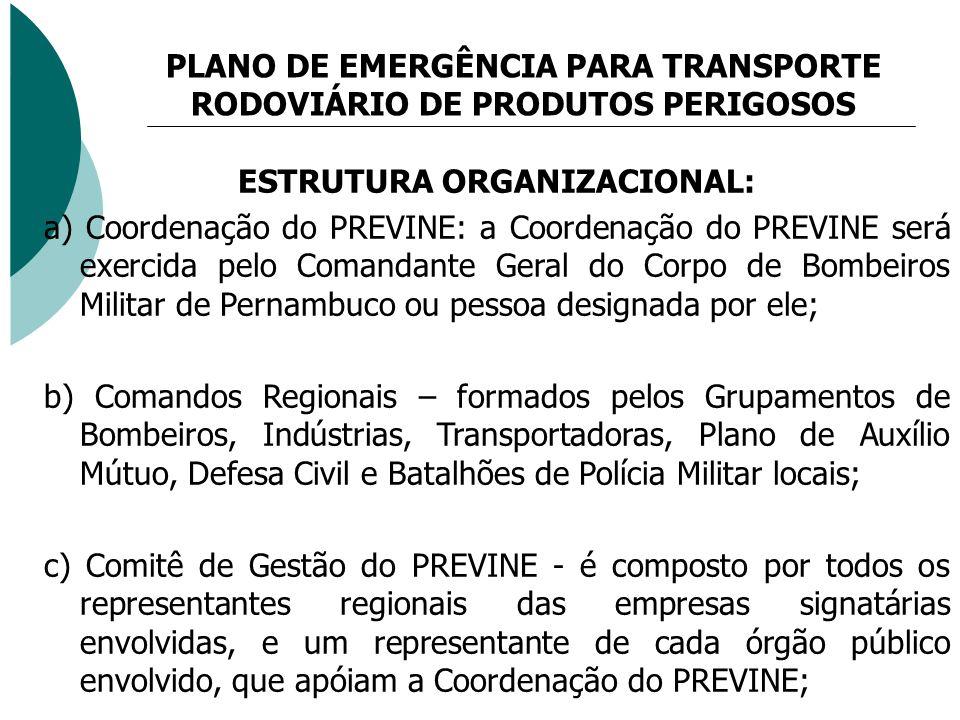 PLANO DE EMERGÊNCIA PARA TRANSPORTE RODOVIÁRIO DE PRODUTOS PERIGOSOS ESTRUTURA ORGANIZACIONAL: a) Coordenação do PREVINE: a Coordenação do PREVINE ser