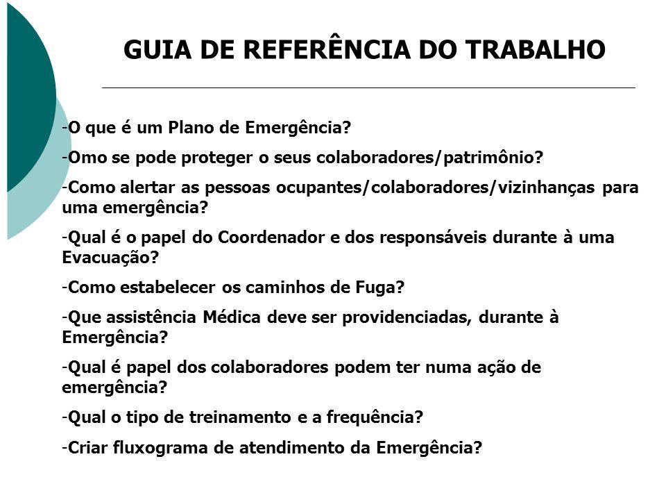 GUIA DE REFERÊNCIA DO TRABALHO -O que é um Plano de Emergência? -Omo se pode proteger o seus colaboradores/patrimônio? -Como alertar as pessoas ocupan