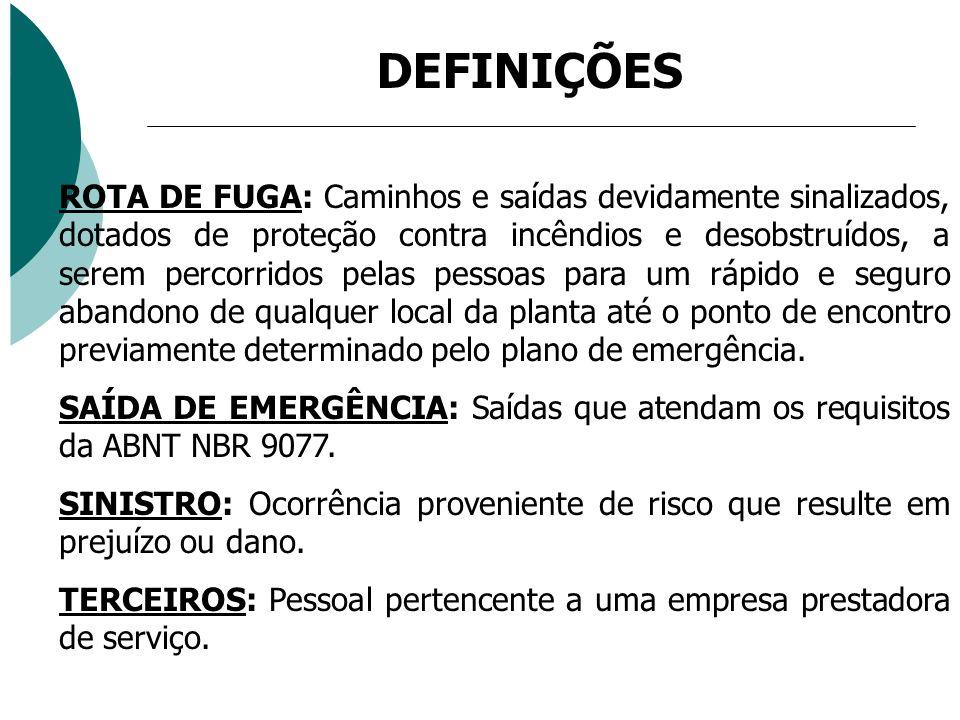 DEFINIÇÕES ROTA DE FUGA: Caminhos e saídas devidamente sinalizados, dotados de proteção contra incêndios e desobstruídos, a serem percorridos pelas pe