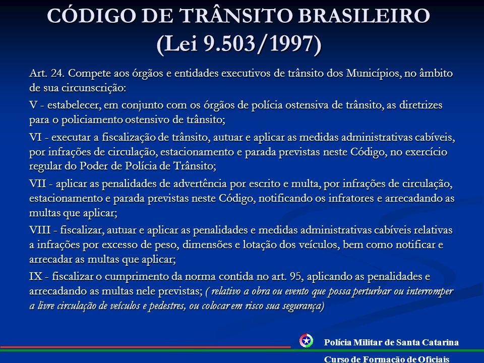 CÓDIGO DE TRÂNSITO BRASILEIRO (Lei 9.503/1997) Art. 23. Compete às Polícias Militares dos Estados e do Distrito Federal: III - executar a fiscalização