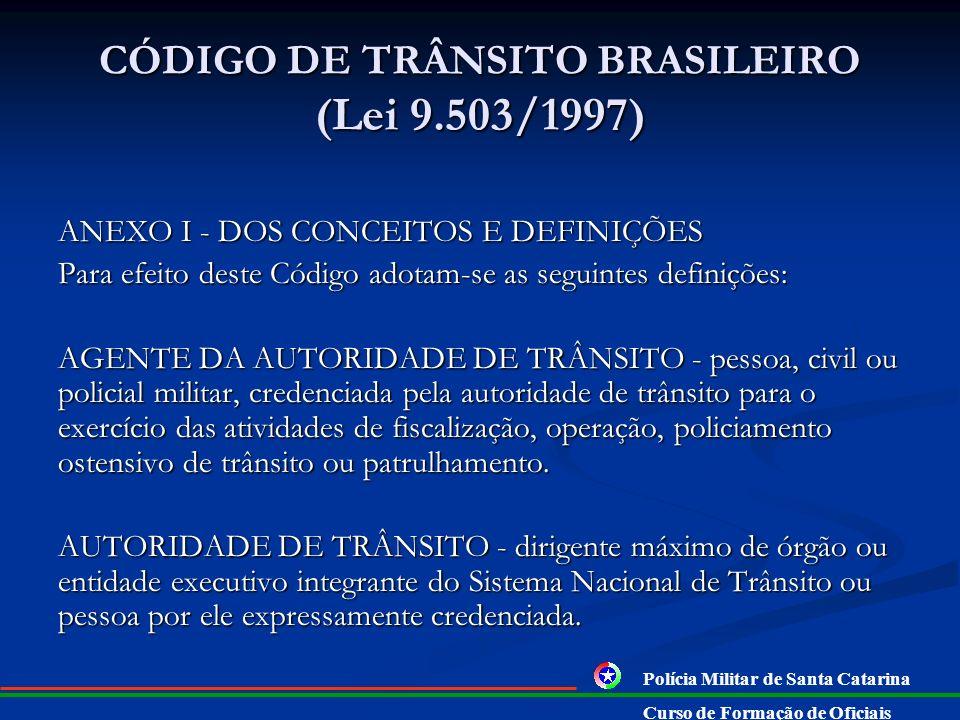 CÓDIGO DE TRÂNSITO BRASILEIRO (Lei 9.503/1997) RESOLUÇÃO No 106, DE 21 DE DEZEMBRO DE 1999 Dispõe sobre a integração dos órgãos e entidades executivos