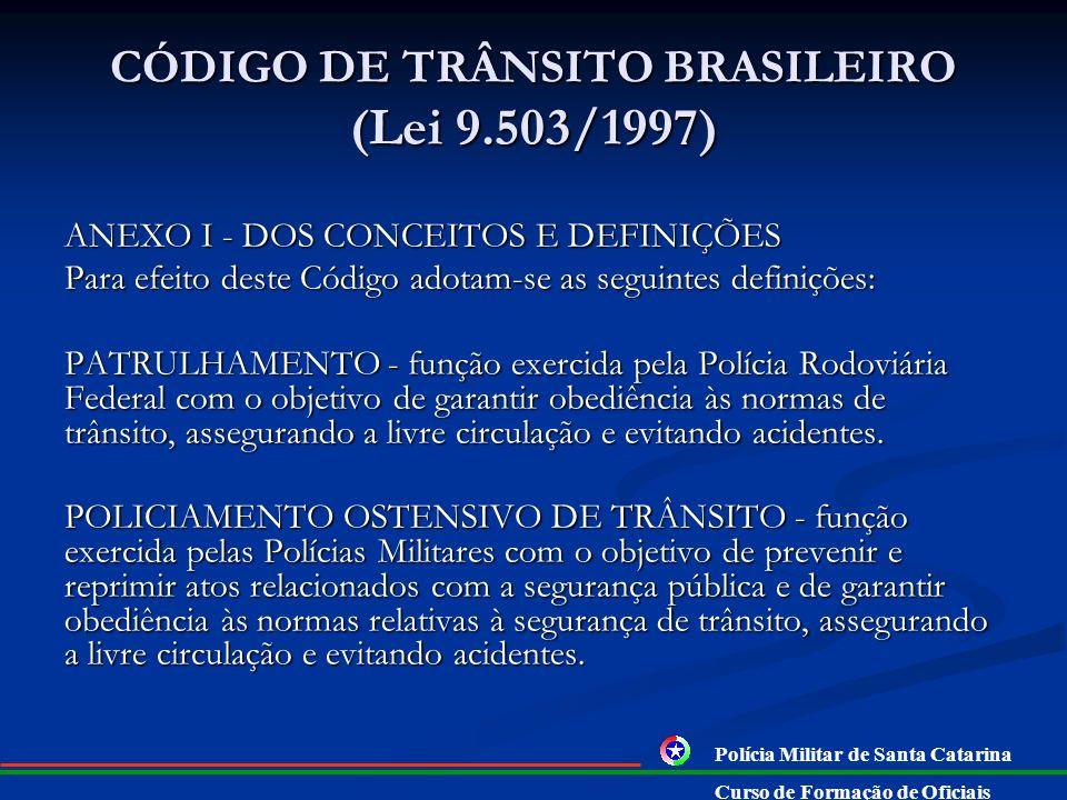 CÓDIGO DE TRÂNSITO BRASILEIRO (Lei 9.503/1997) ANEXO I - DOS CONCEITOS E DEFINIÇÕES Para efeito deste Código adotam-se as seguintes definições: FISCAL