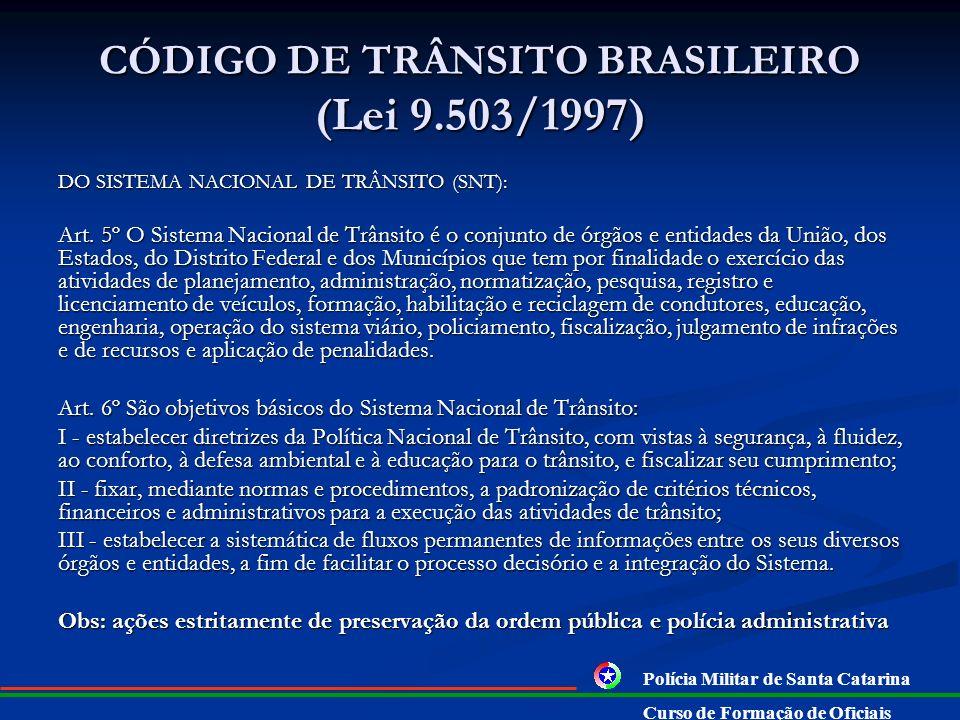 CÓDIGO DE TRÂNSITO BRASILEIRO (Lei 9.503/1997) DO SISTEMA NACIONAL DE TRÂNSITO (SNT): Art.