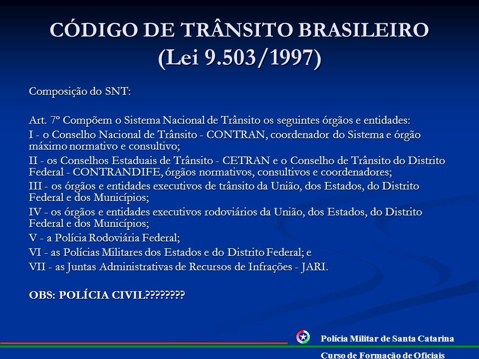 CÓDIGO DE TRÂNSITO BRASILEIRO (Lei 9.503/1997) DO SISTEMA NACIONAL DE TRÂNSITO (SNT): Art. 5º O Sistema Nacional de Trânsito é o conjunto de órgãos e