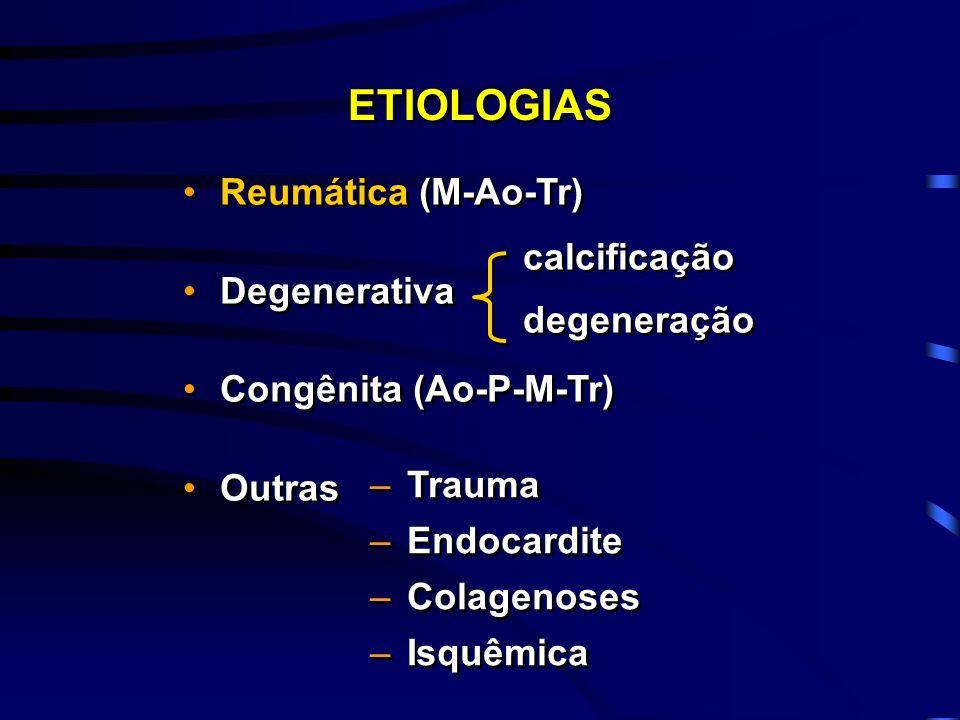 Reumática (M-Ao-Tr) Degenerativa Congênita (Ao-P-M-Tr) Outras Reumática (M-Ao-Tr) Degenerativa Congênita (Ao-P-M-Tr) Outras ETIOLOGIAS calcificação de