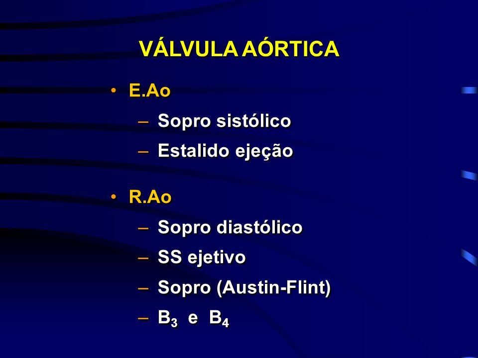 E.Ao –Sopro sistólico –Estalido ejeção R.Ao –Sopro diastólico –SS ejetivo –Sopro (Austin-Flint) –B 3 e B 4 E.Ao –Sopro sistólico –Estalido ejeção R.Ao