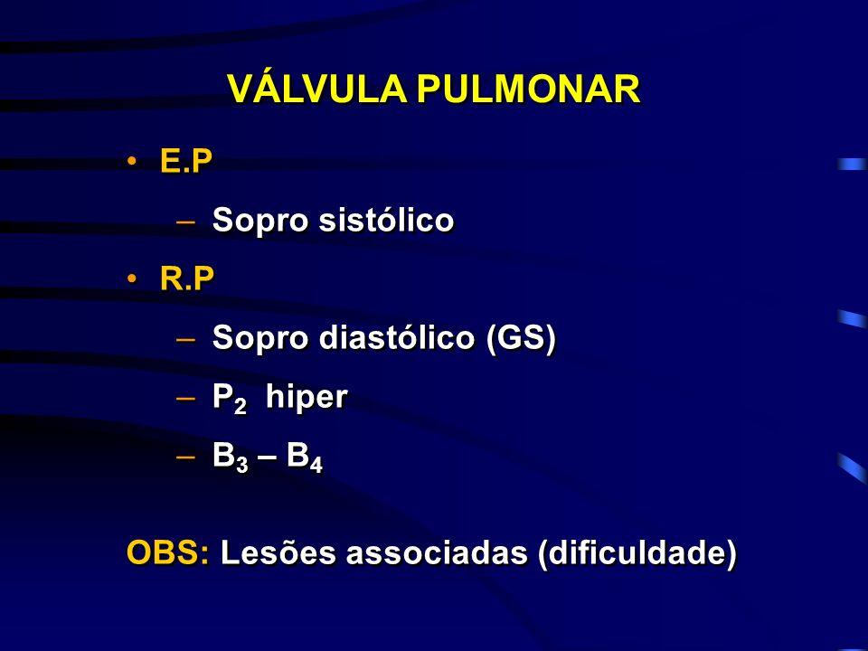 E.P –Sopro sistólico R.P –Sopro diastólico (GS) –P 2 hiper –B 3 – B 4 OBS: Lesões associadas (dificuldade) E.P –Sopro sistólico R.P –Sopro diastólico