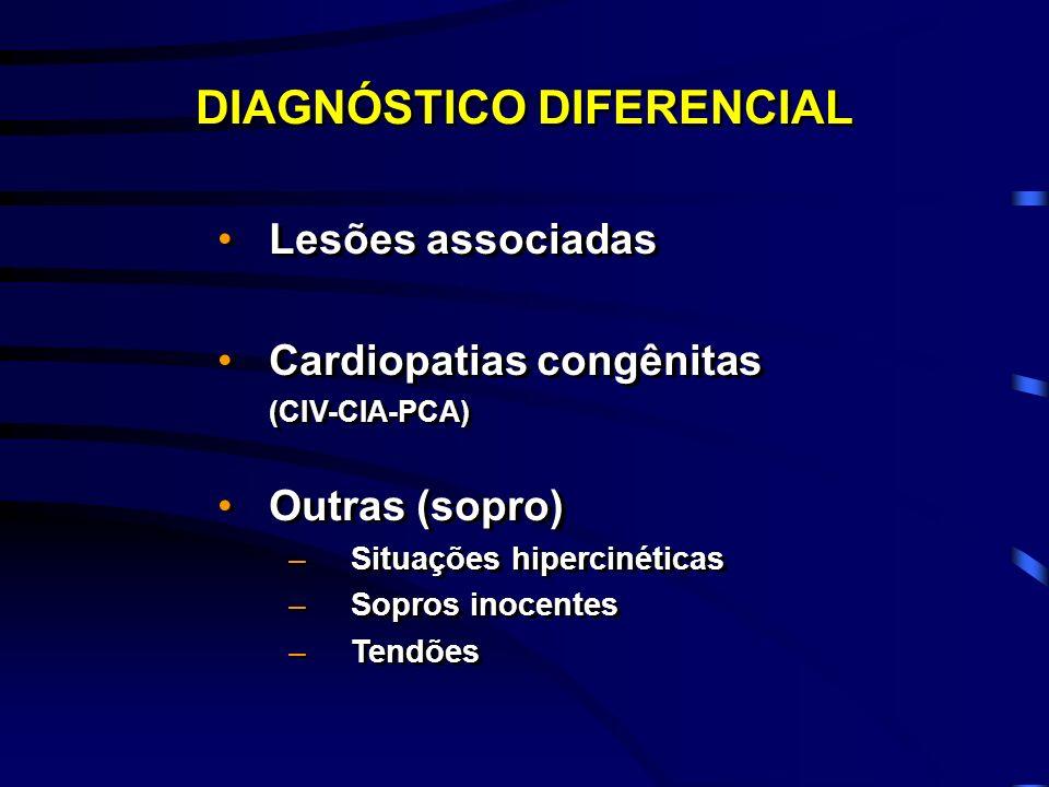 Lesões associadas Cardiopatias congênitas (CIV-CIA-PCA) Outras (sopro) –Situações hipercinéticas –Sopros inocentes –Tendões Lesões associadas Cardiopa