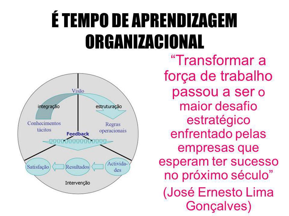 É TEMPO DE APRENDIZAGEM ORGANIZACIONAL Transformar a força de trabalho passou a ser o maior desafio estratégico enfrentado pelas empresas que esperam